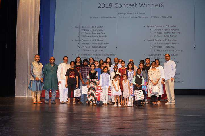 Mayor Sylvester Turner with the winners of Mahatma Gandhi Week 2019 Speech, Creative writing, Multimedia and Poster contests